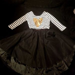 To piece high low dress with stripe gold heart top